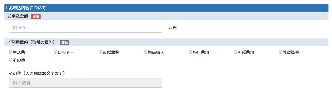 申込者情報の入力:申込内容について