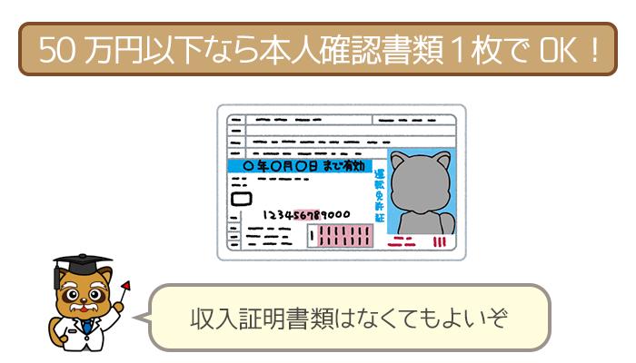 50万円以下なら本人確認書類1枚でOK