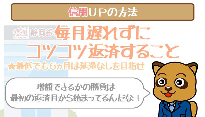 静岡銀行カードローンの信用を上げる方法