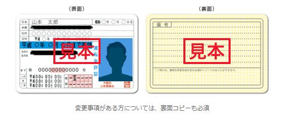 必要書類:運転免許証