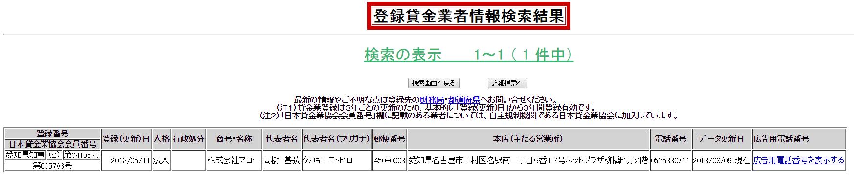 アローの登録情報