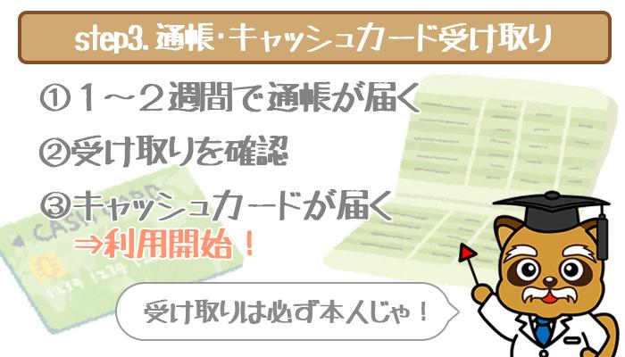 通帳・キャッシュカード受取
