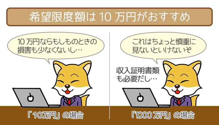 審査が不安なら希望限度額は10万円がおすすめ