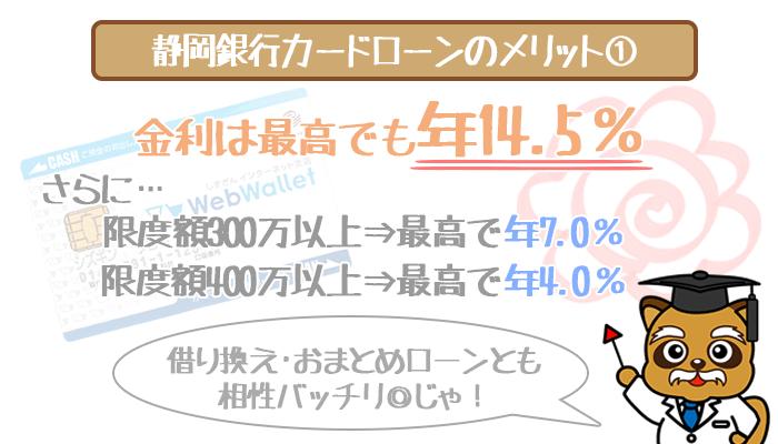 静岡銀行カードローンは低金利(年4.0%~14.5%)