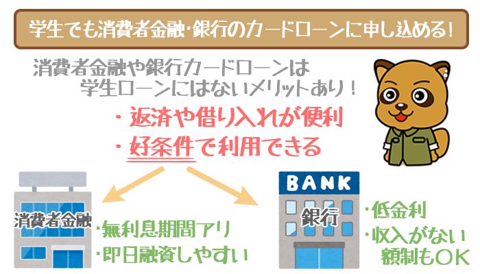 学生にも消費者金融や銀行に申し込む選択肢あり