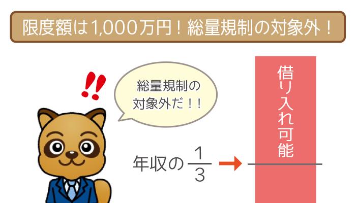 限度額は1,000万円!総量規制の対象外!