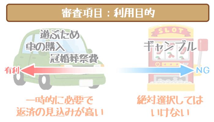 三井住友銀行カードローンの審査項目・利用目的