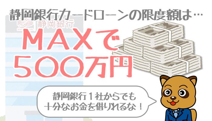 静岡銀行カードローンの限度額は500万円