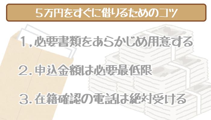 5万円をすぐに借りれる可能性を上げる3つのコツ