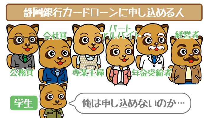静岡銀行カードローンに申し込める人一覧