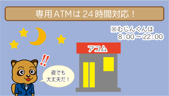 専用ATMは24時間対応!
