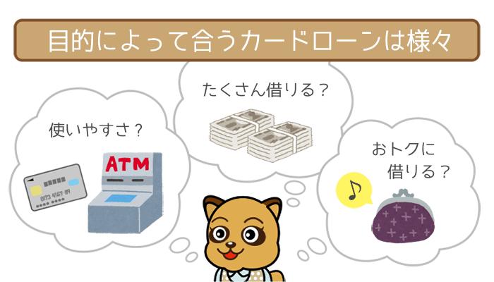 目的によって銀行カードローンを使い分ける