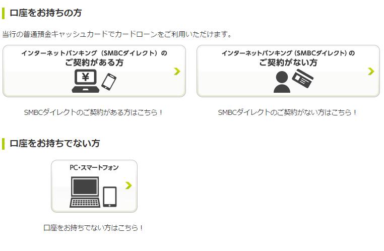 三井住友銀行カードローンは口座開設不要