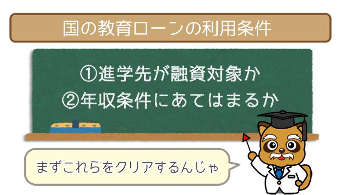 国の教育ローンの利用条件
