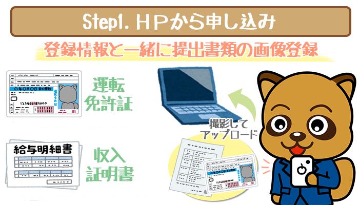 HPから申し込み