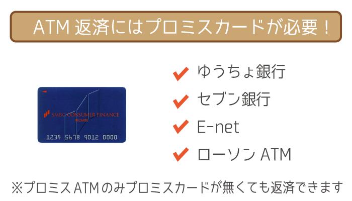 ATM返済にはプロミスカードが必須!