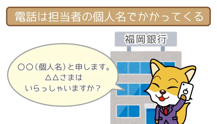 「福岡銀行」と名乗って電話をかけてくることはない