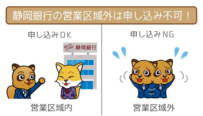 静岡銀行の営業区域外の申し込みはNG