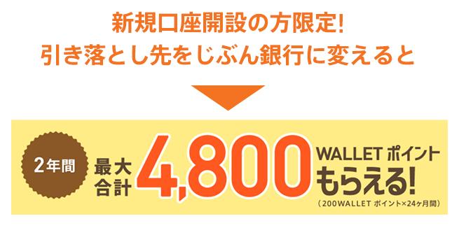 新規口座開設の特典は最大合計4,800WALLETポイント!