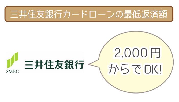 三井住友銀行カードローンの最低返済額は2,000円からでOK