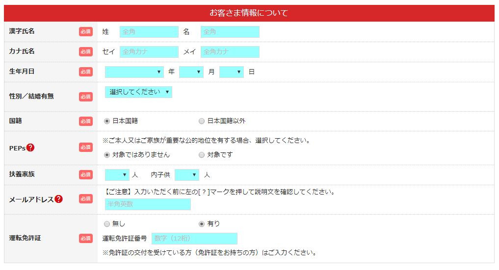 申し込みフォーム②:本人情報