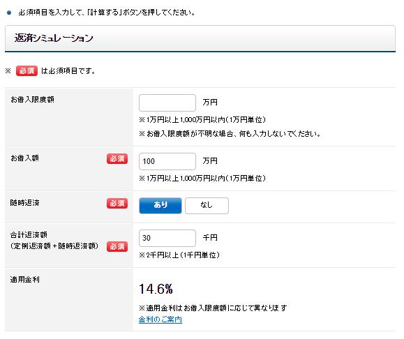 横浜銀行カードローンの返済シミュレーションの利用(毎月の返済額が30,000円の場合)