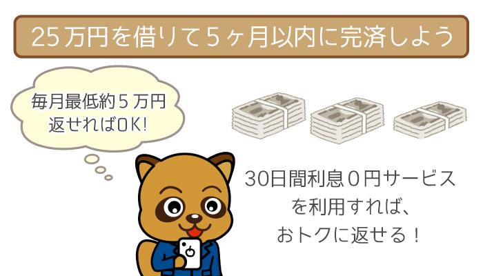毎月の返済が5万円程度でも5ヶ月で完済可能!