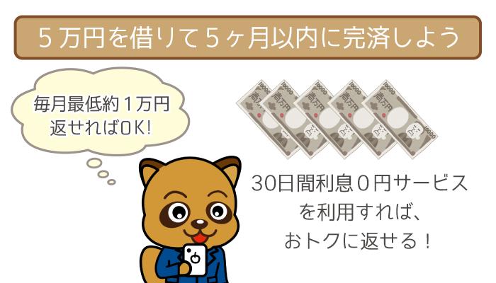 毎月の返済が1万円程度でも5ヶ月で完済可能!