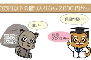 10万円以下の借り入れなら2,000円からでOK
