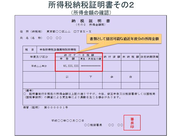 納税証明書その2のサンプル