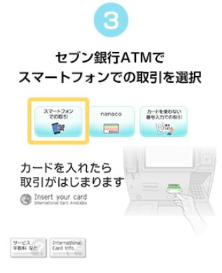 セブン銀行ATMで「スマートフォンでの取引」を選択
