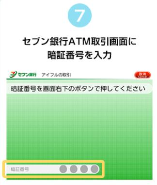 セブン銀行ATMの取引画面に暗証番号を入力