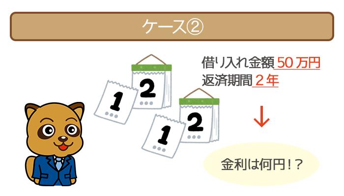 借り入れ金額50万円・返済期間2年で利息を比較