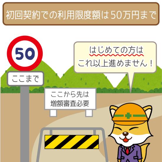 最初のうちは50万円が利用限度額の限界!