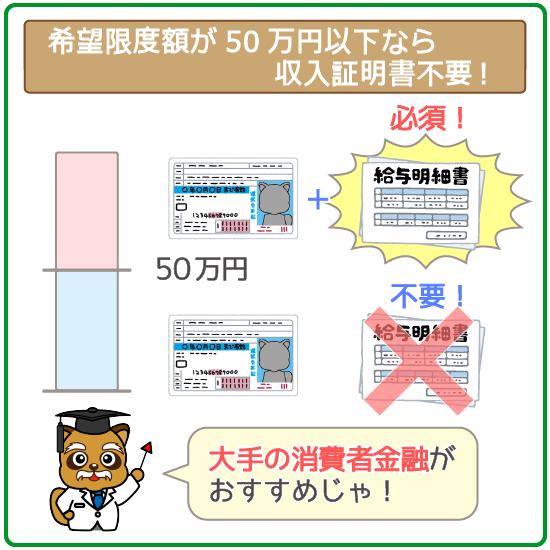 50万円以下ならそもそも収入証明書の提出は「不要」!