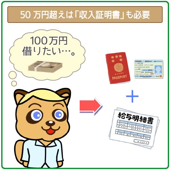 50万円超えは収入証明書も必要
