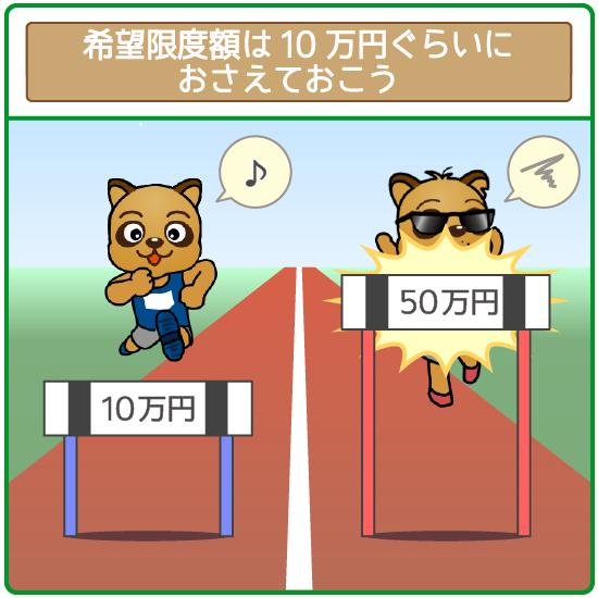 希望限度額が10万円程度ならまず収入証明書不要でOKになる