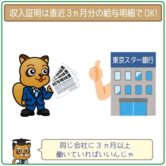 東京スター銀行なら収入証明は直近3ヶ月分の給与明細でOK!